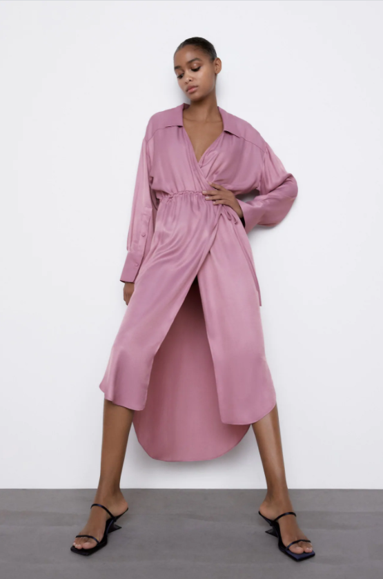 Zara Satin Effect Wrap Dress